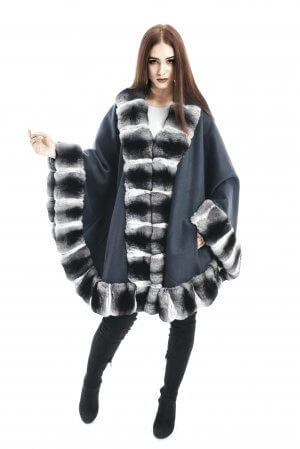 Natural finest luxury cashmere poncho with genuine chinchilla fur trim