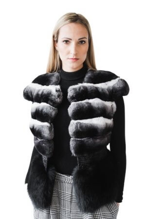 luxurious chinchilla fur and fox fur vest