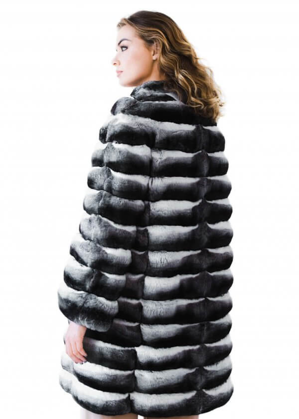 Knee Length Genuine Chinchilla Fur Coat, How Much Is A Real Chinchilla Fur Coat