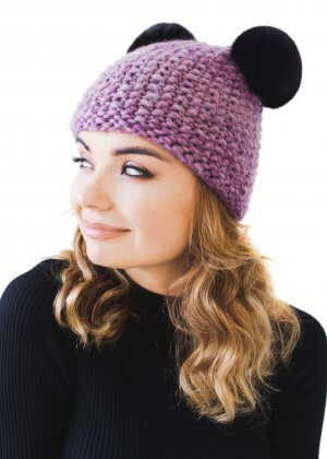 knitted beanie with chinchilla fur