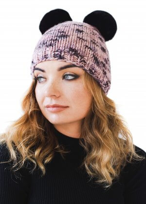 Hand knitted pink melange beanie with chinchilla fur pom pom