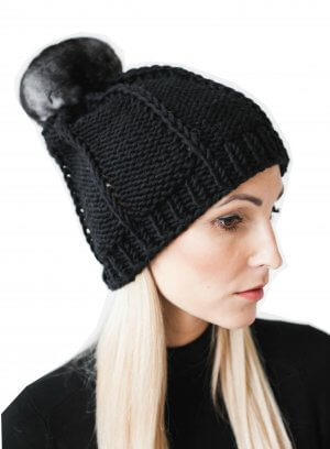 merino wool beanie with chinchilla fur pom pom