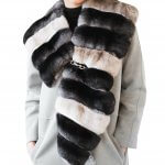 Exclusive two-colored chinchilla fur collar shawl scarf bolero
