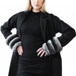 Wool blend oversize coat with chinchilla fur sleeves