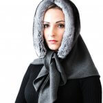 Luxury cashmere and chinchilla fur hood shawl scarf