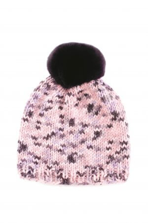 hand knitted beanie with purple chinchilla fur pom pom