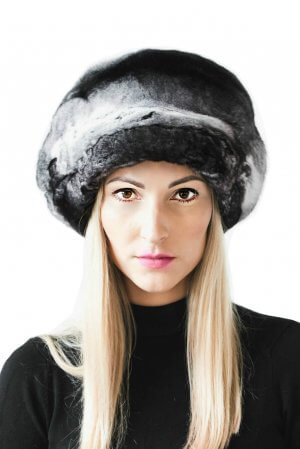 genuine chinchilla fur beret hat cap