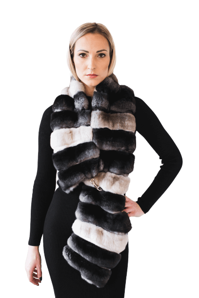 Exclusive two-colored chinchilla fur collar 3 in 1