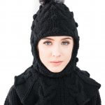 Balaclava face mask hat beanie with fur pom pom