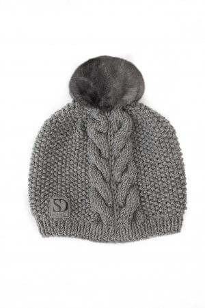 Grey Merino Wool Hand Knit Hat