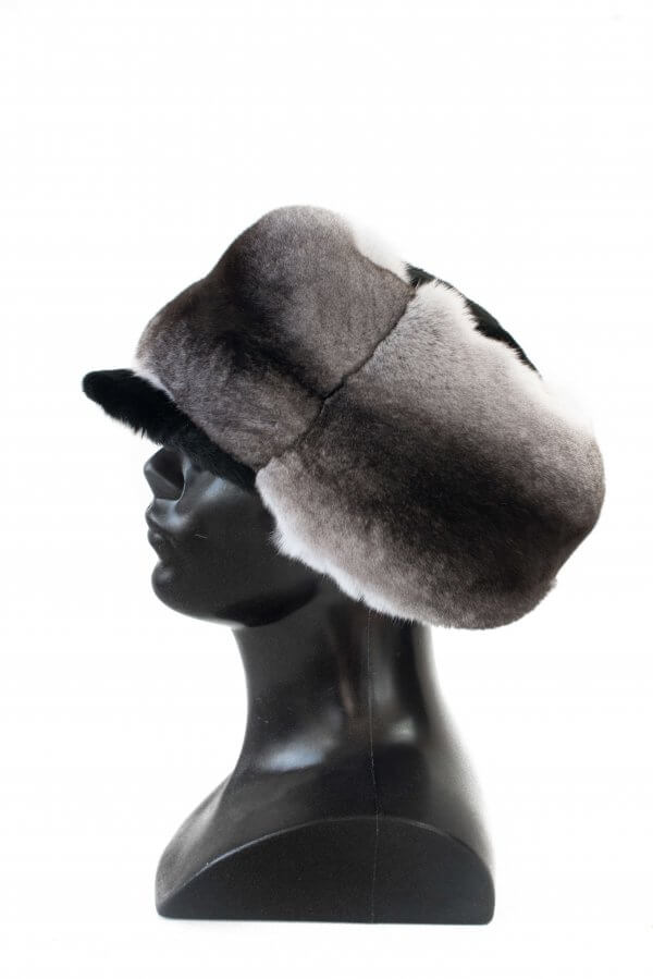 New unisex genuine chinchilla fur trooper trapper hat