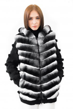 Luxurious genuine chinchilla fur bomber jacket