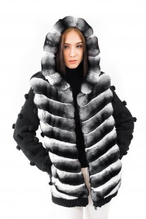 Chinchilla fur bomber jacket with hood