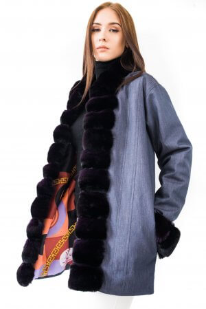 Denim parka jacket chinchilla fur trimmed