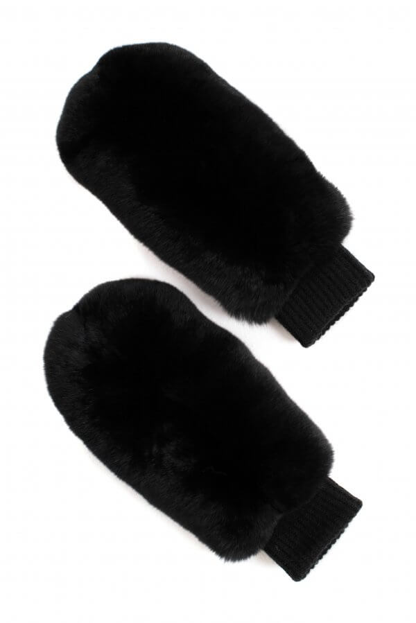 black chinchilla fur mittens