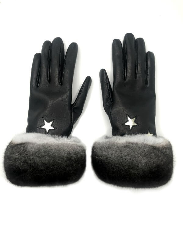 nappa leather gloves with chinchilla fur trim