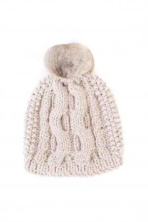 Beige sand color beanie with fur pom pom