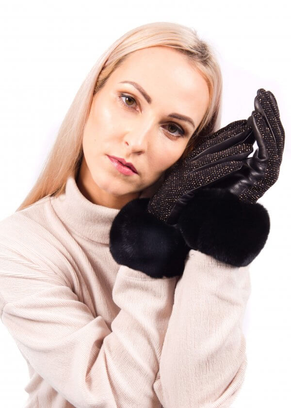 black leather gloves with chinchilla fur