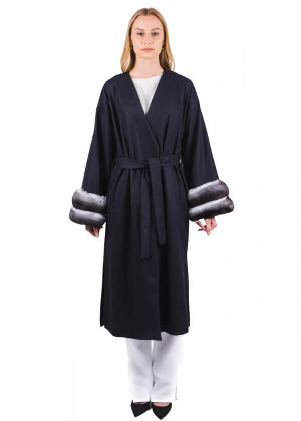 Cashmere and wool coat with chinchilla fur trim